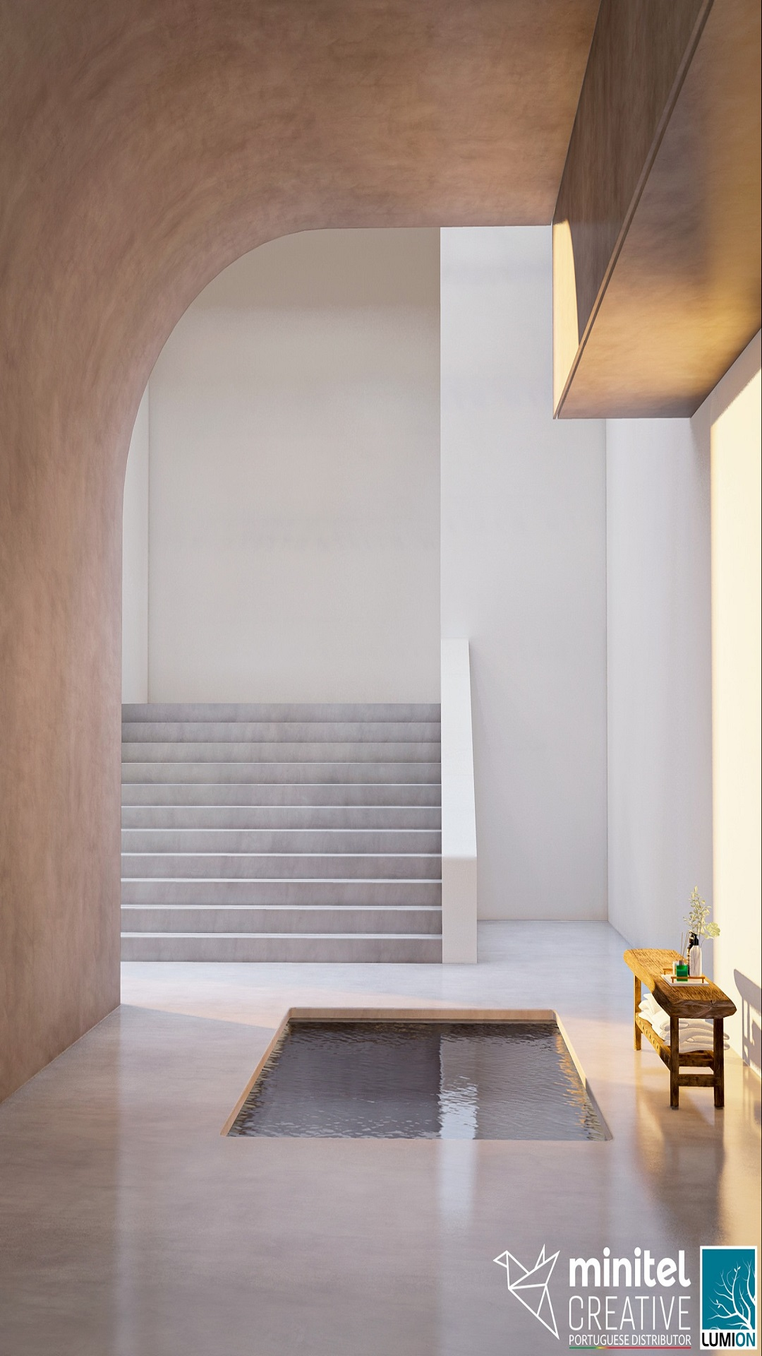 Inspiration (layers and shapes of a hidden bath area), rendered in Lumion 11 by Minitel Creative.